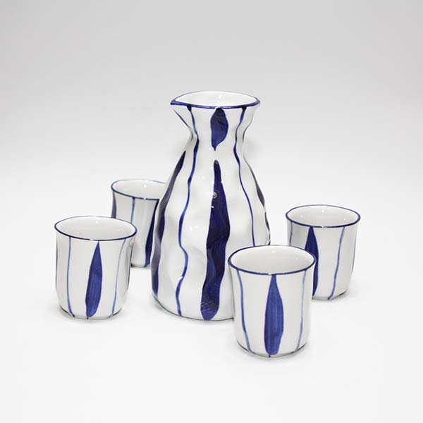 Set Sake con 4 tazzine Design Leaf Blue